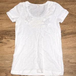 J Crew Embellished White T Shirt Size Large